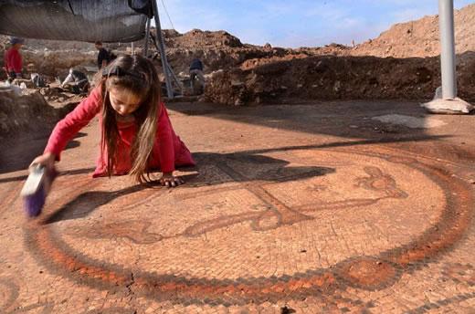 Wykopaliska, kościół, mozaika, Izrael